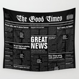 The Good Times Vol. 1, No. 1 REVERSED / Newspaper with only good news Wall Tapestry