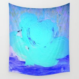 Neon Winter Rose, Abstract In Nature, Ice Blue Wall Tapestry