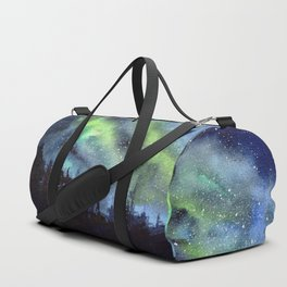 Galaxy Nebula Watercolor Northern Lights Aurora Borealis Duffle Bag