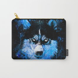 husky dog face splatter watercolor blue Carry-All Pouch