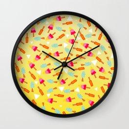 Retro hand drawn mint lemon lime ombre ice cream pattern white triangles illustration Wall Clock