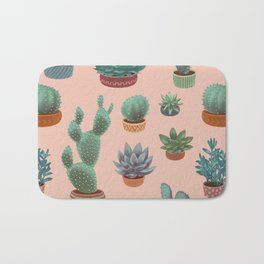 Potted Cacti and Succulents on Sahara Rose background. Bath Mat