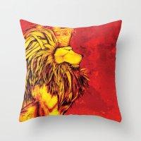 lion king Throw Pillows featuring Lion King by RICHMOND ART STUDIO