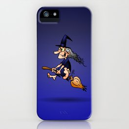 Witch on a broom iPhone Case
