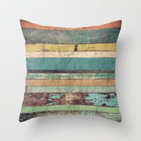 wooden Throw Pillows featuring Wooden Vintage  by Patterns and Textures