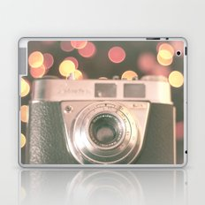 Film camera and magic bokeh (Vintage and Retro Still Life Photography)  Laptop & iPad Skin