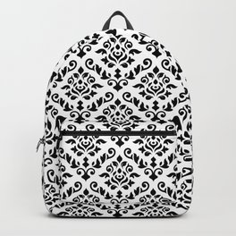 Damask Baroque Repeat Pattern Black on White Backpack