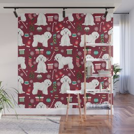 Bichon Frise Christmas dog breed pattern mittens stockings presents dog lover Wall Mural