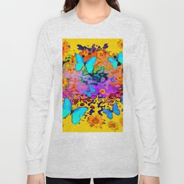 Yellow Floating Butterflies Flowers Dreamscape Long Sleeve T-shirt