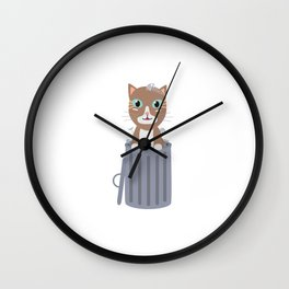 Cute Cat In the trash can   Wall Clock