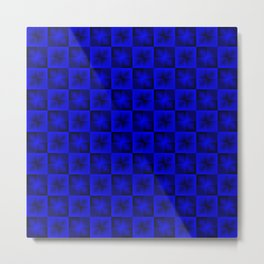 Chess blue squares and dark stars with flowers. Metal Print