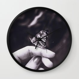 Butterfly - Black and White Wall Clock