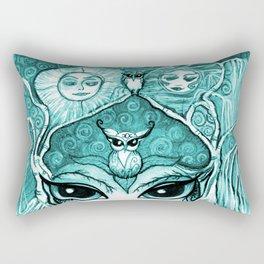 Owlette, The Owl Queen, in Aqua.  Original Illustration Artwork by Sheridon Rayment  Rectangular Pillow