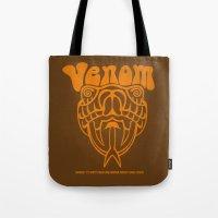 will ferrell Tote Bags featuring ANCHORMAN - Venom  by John Medbury (LAZY J Studios)