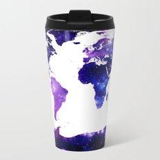 world map. (Blue Purple Galaxy) Metal Travel Mug