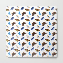 Orange and Blue Butterfly Pattern Metal Print