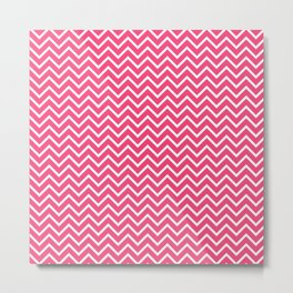 Pink Chevron Pattern Metal Print