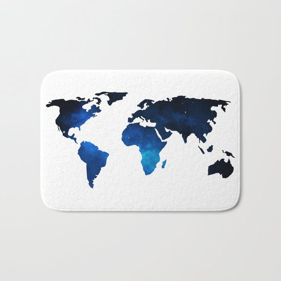 World Map Space Planet Blue Bath Mat