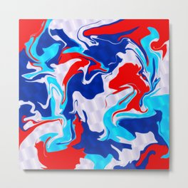 Red White Blue Psychedelic Metal Print