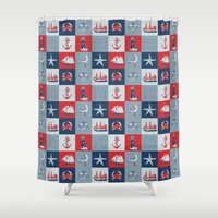 nautical Shower Curtains featuring Nautical by Julscela