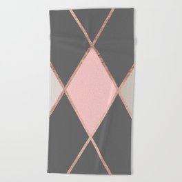 Modern pastel pink gray color block rose gold stripes Beach Towel
