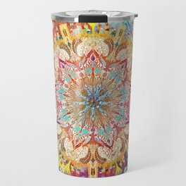 Candelar-Chanukkah mandala-light-judaica art-hand painted-bright colors Travel Mug