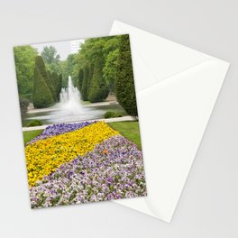 Purple and yellow pansies blooming Stationery Cards