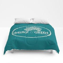 Village Green Bookstore Tan on Green Comforters