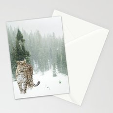 Leopard in the Snow Stationery Cards