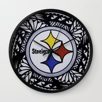 steelers Wall Clocks featuring Steelers Poly Style by Lonica Photography & Poly Designs