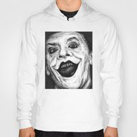 jack nicholson Hoodies featuring Jack Nicholson Joker Stippling Portrait by Joanna Albright
