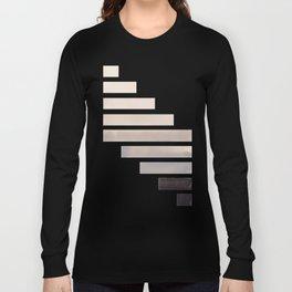 Grey Midcentury Modern Minimalist Staggered Stripes Rectangle Geometric Aztec Pattern Watercolor Art Long Sleeve T-shirt
