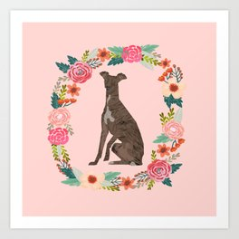 italian greyhound floral wreath dog breed pet portrait pure breed dog lovers Art Print
