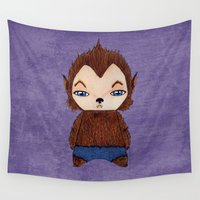 werewolf Wall Tapestries featuring A Boy - Werewolf by Christophe Chiozzi