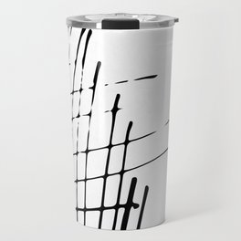 Grid Sketch Black and White Travel Mug