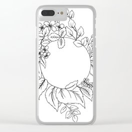 White Floral Circle Clear iPhone Case