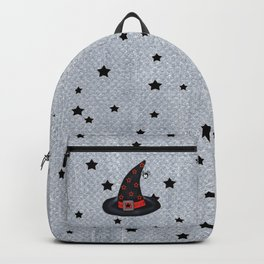 Black Witch Hat Silver Buckle Black Stars Cute Dangling Spider Backpack