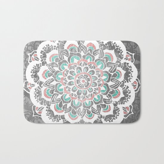 Pastel Floral Medallion on Faded Silver Wood Bath Mat
