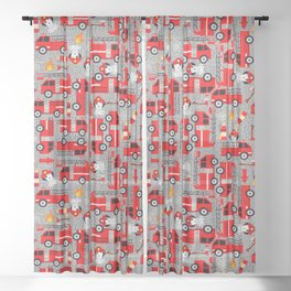 Kids Firetruck Dalmatian Dog Firefighter Pattern Gray Sheer Curtain