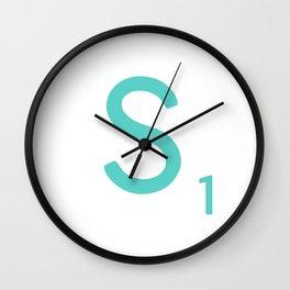 Blue Letter Art Scrabble S Wall Clock