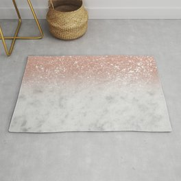 White Marble Rose Gold Ombre Glitter Glam #1 #shiny #gem #decor #art #society6 Rug