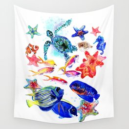 Sea World,Underwater Scene coral sea, beach tropical ocean sea beach house design Wall Tapestry