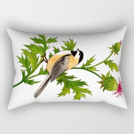 Chickadee and Thistle Rectangular Pillow
