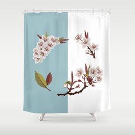 Spring Wreath Design - Teal Shower Curtain