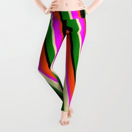 Red, Fuchsia, Pale Goldenrod, Green, and Black Colored Pattern of Stripes Leggings