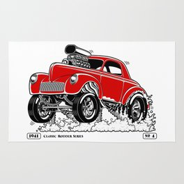 1941 WILLYS Classic Rodder - RED Rug