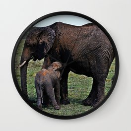 Wild African Elephants -Mother And Baby Wall Clock