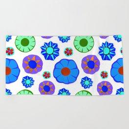 Flower Pattern-Blue Beach Towel