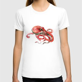 Octopus, Coral Reef, Sea world red design T-shirt