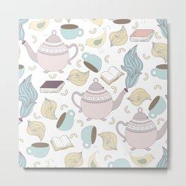 Pastel Tea + Books Pattern Metal Print